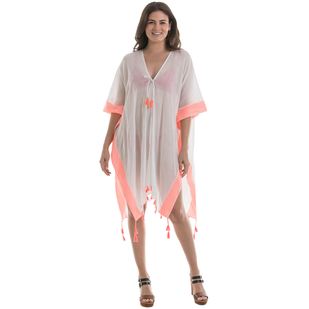 White and Coral Wholesale Swimsuit Cover Ups