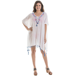 White Floral Trim Swimsuit Cover Ups