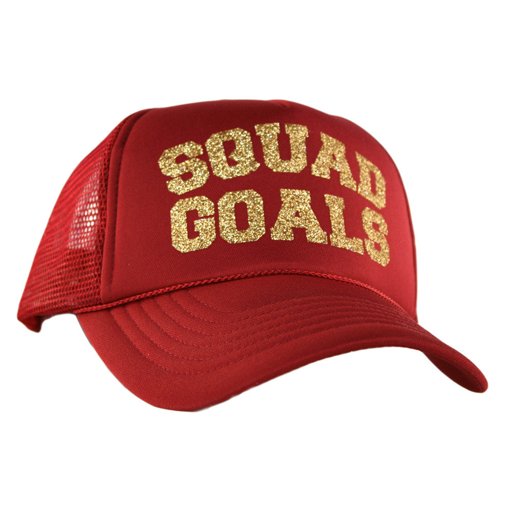 "Katydid Black ""Squad Goals"" Wholesale Glitter Trucker Hats"