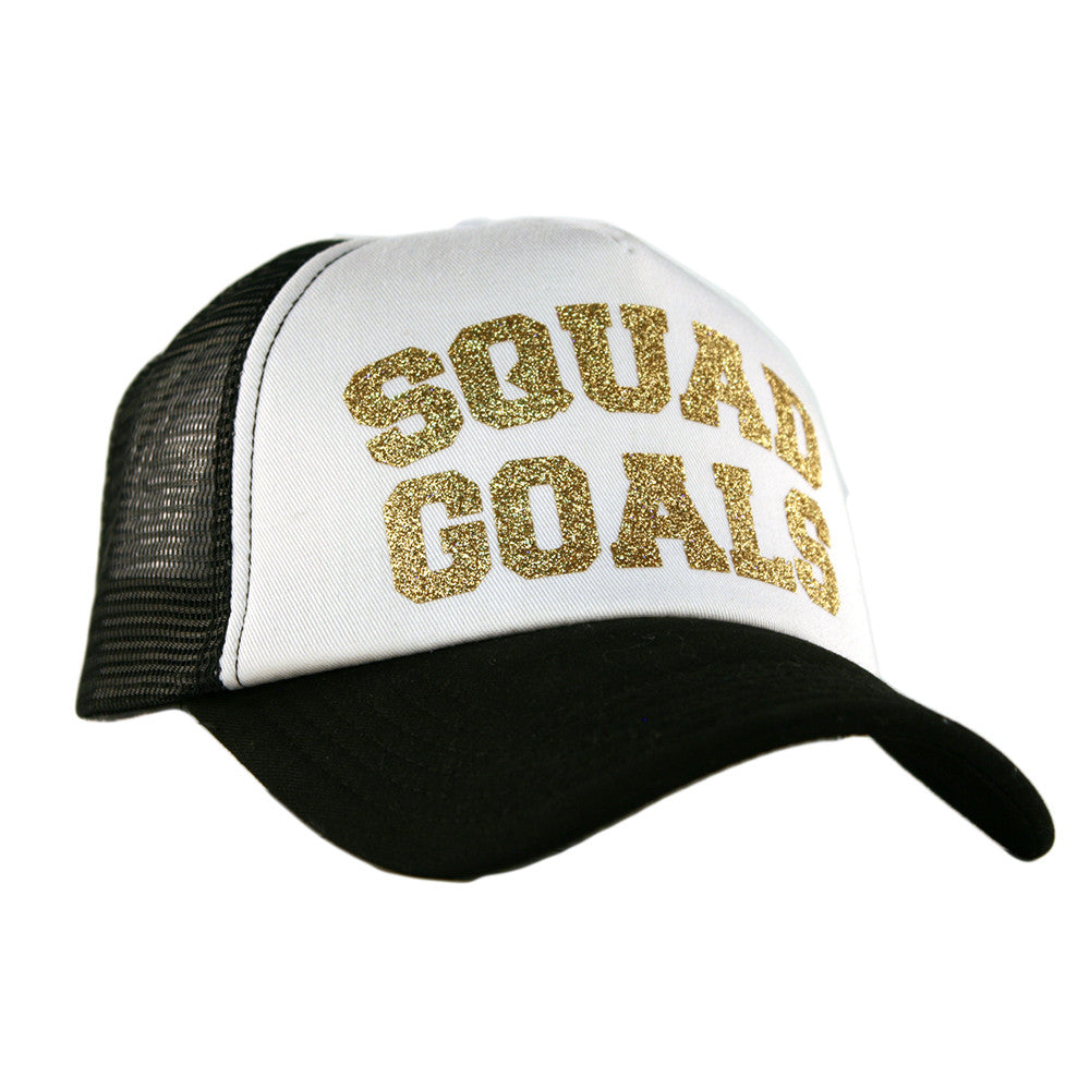 "Katydid Black & White ""Squad Goals"" Wholesale Glitter Trucker Hats"