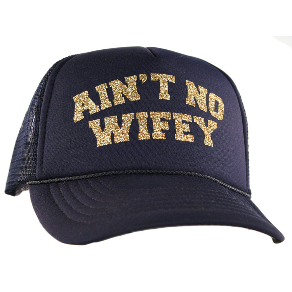 "Katydid Black ""Ain't No Wifey"" Wholesale Glitter Trucker Hats"