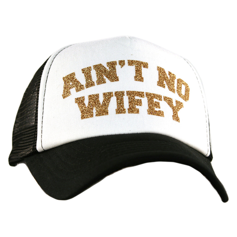 "Katydid White ""Ain't No Wifey"" Wholesale Glitter Trucker Hats"