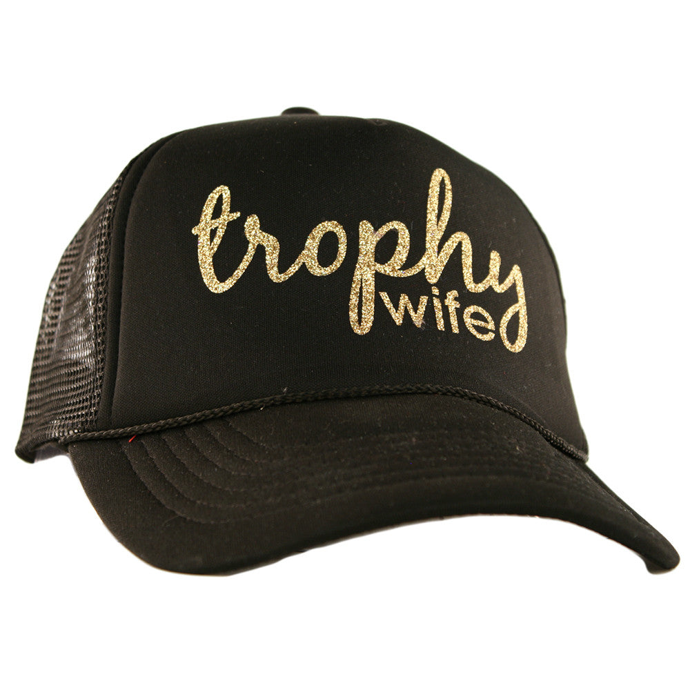 "Katydid Black ""Trophy Wife"" Wholesale Glitter Trucker Hats"