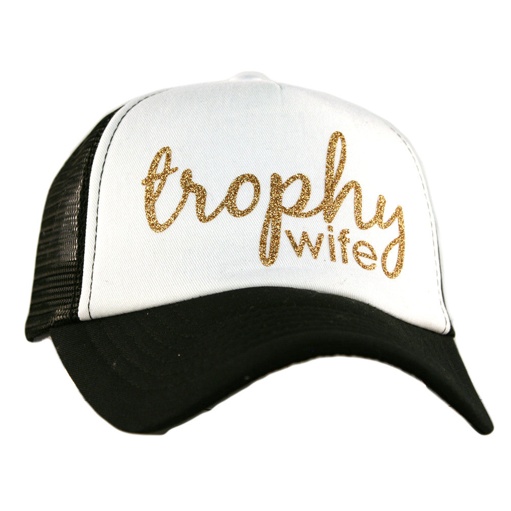"Katydid White ""Trophy Wife"" Wholesale Glitter Trucker Hats"