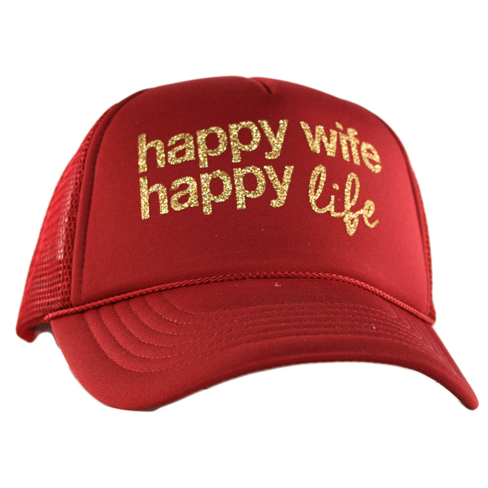 "Katydid Black ""Happy Wife Happy Life"" Wholesale Glitter Trucker Hats"
