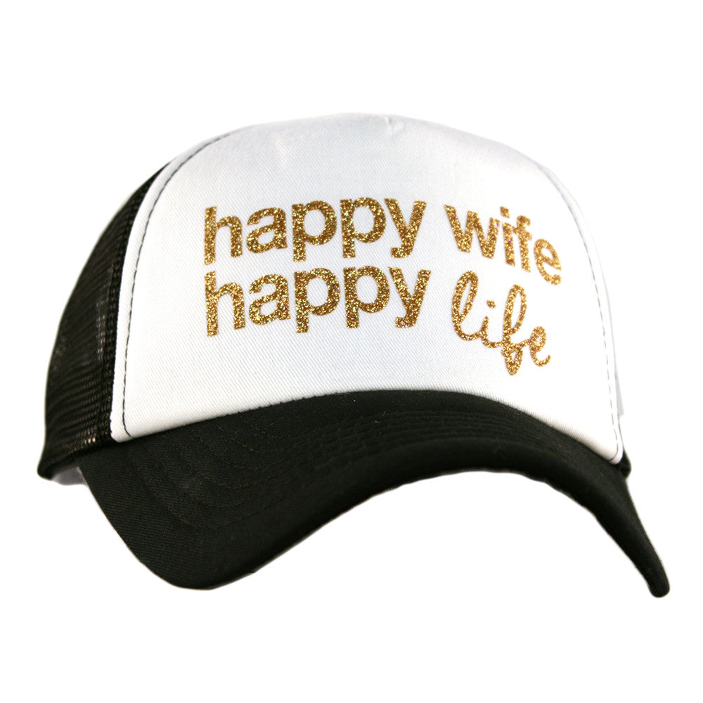 "Katydid Black & White ""Happy Wife Happy Life"" Wholesale Trucker Hats"
