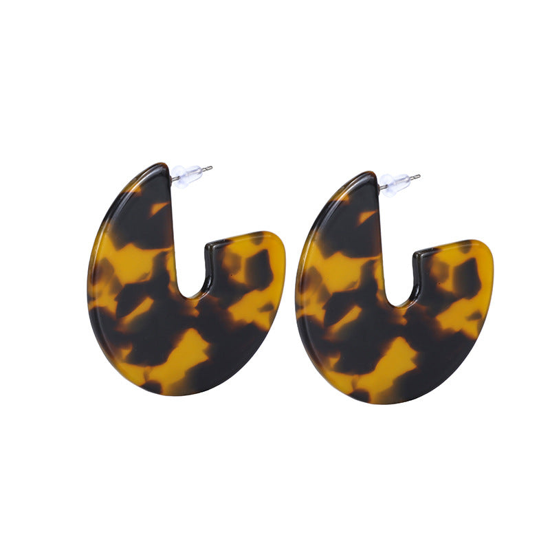 Leopard Acetate Hoop Wholesale Earrings