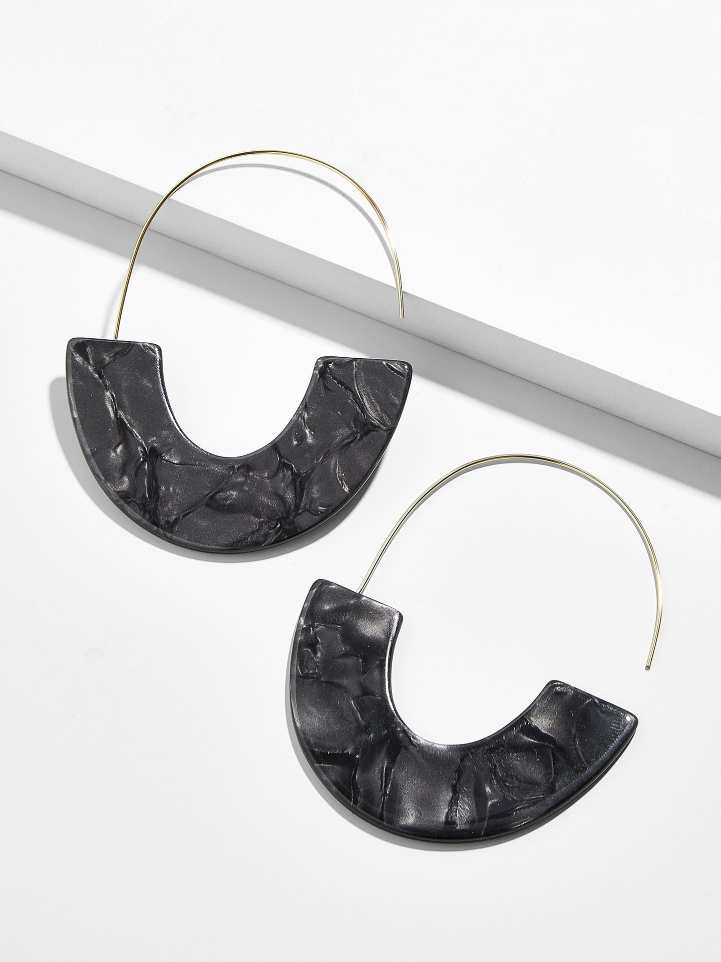 Black Half Acrylic and Wire Drop Wholesale Earrings