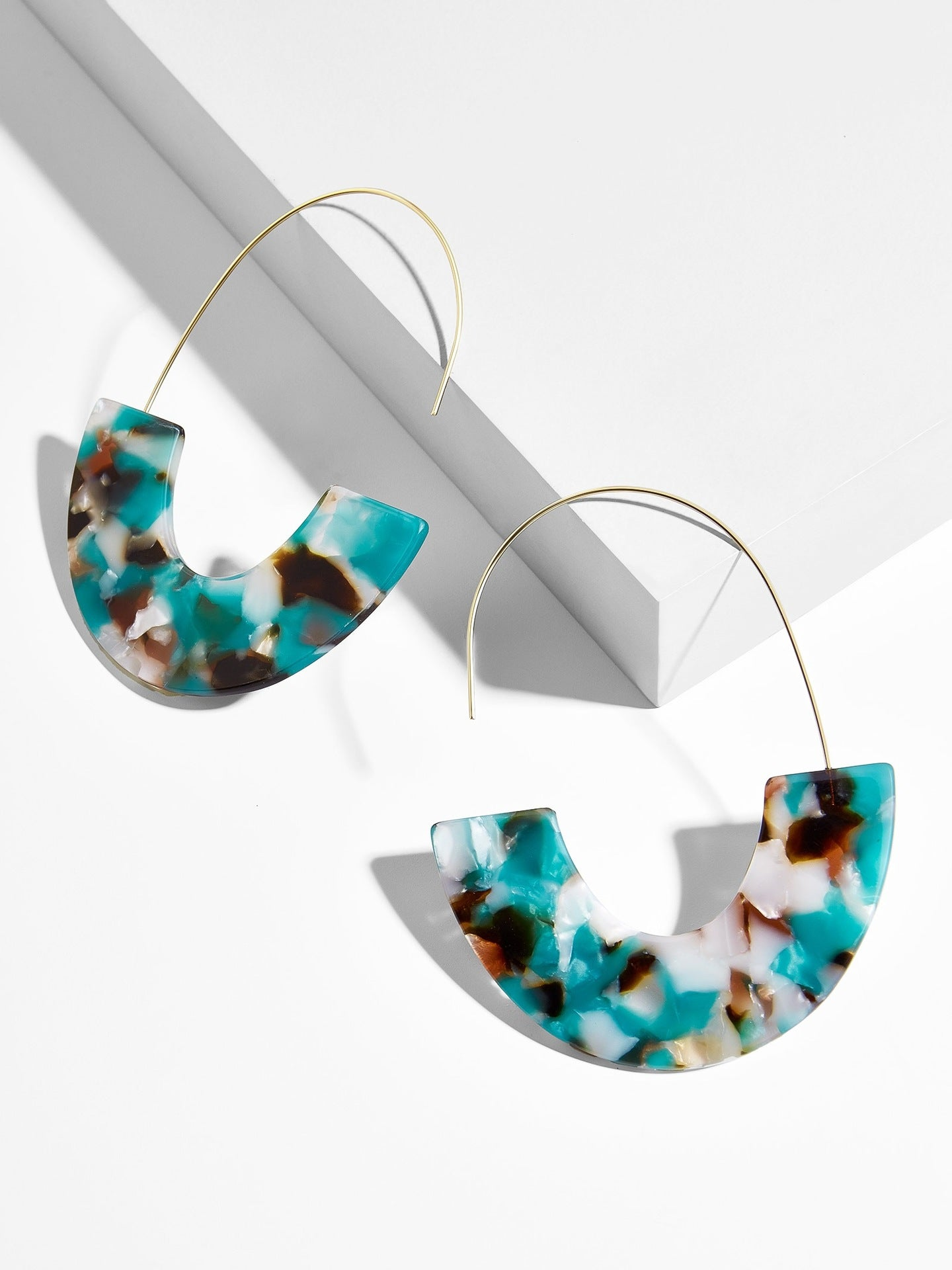 Teal/Brown/Ivory Half Acrylic and Wire Drop Wholesale Earrings