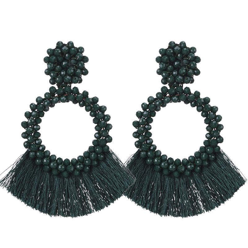Dark Green Tassel and Glass Bead Wholesale Earrings