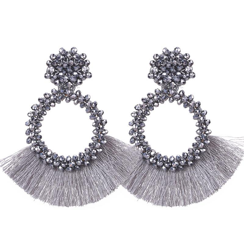 Silver Tassel and Glass Bead Wholesale Earrings
