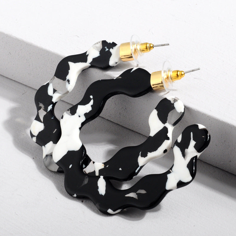 Black and White Acrylic Wave Hoop Wholesale Earrings