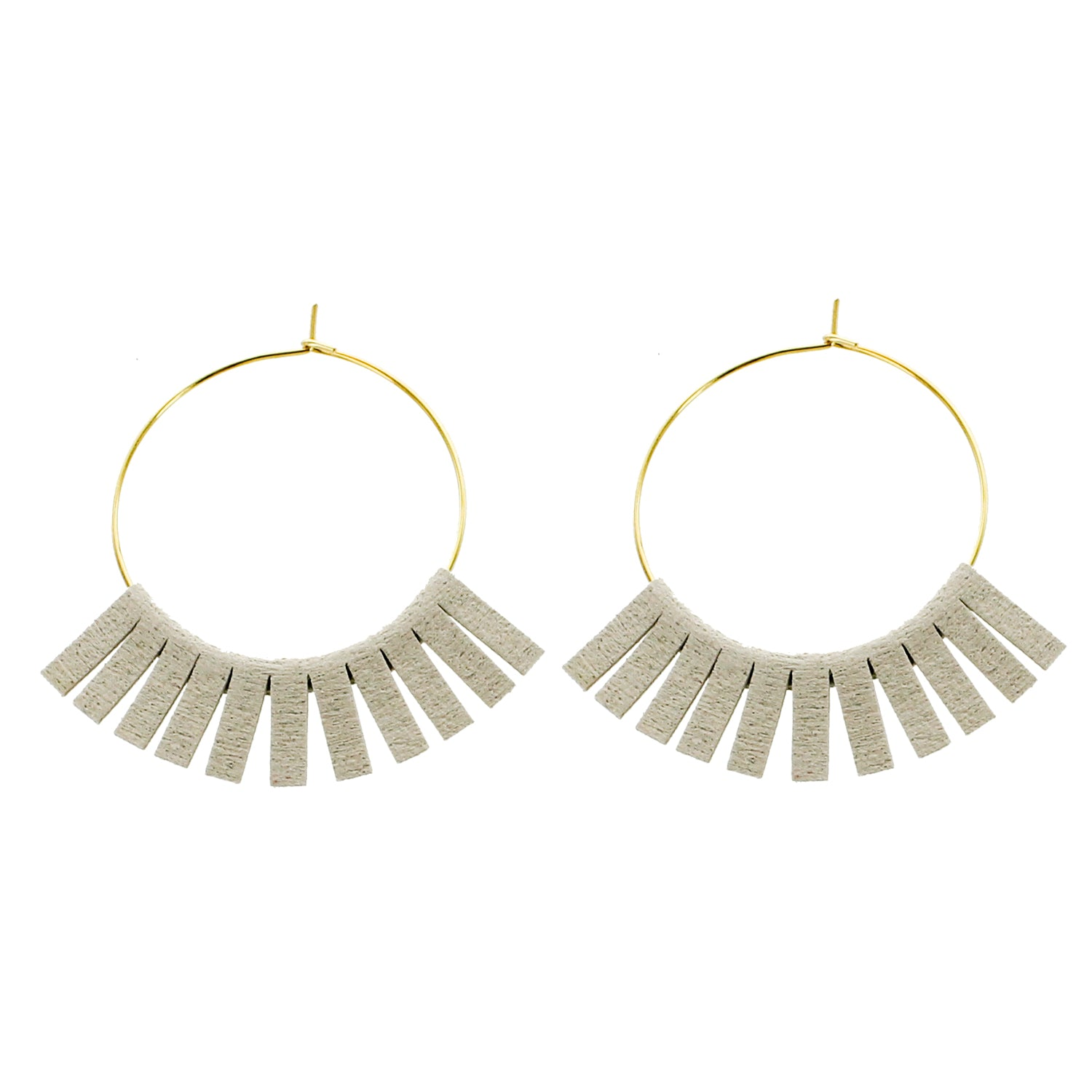 Gray Leather Circle Wholesale Earrings
