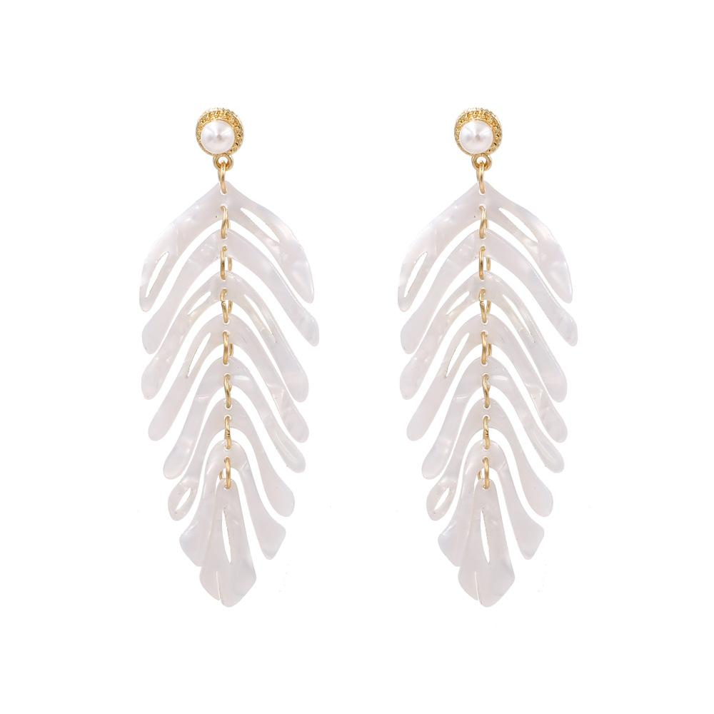 White Acrylic Laser Cut Leaf Wholesale Earrings