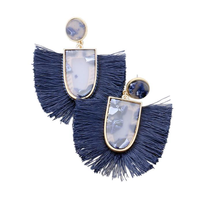Blue Tassel/Acrylic Wholesale Earrings