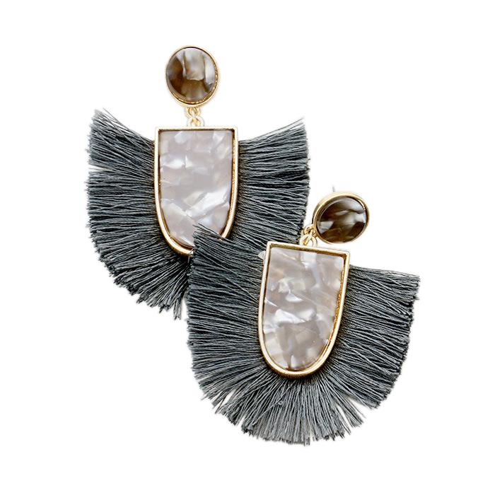 Grey Tassel/Acrylic Wholesale Earrings