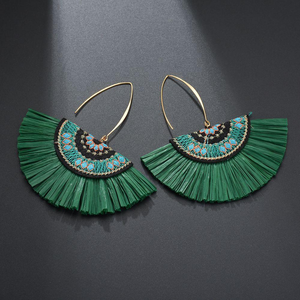Green Raffia Fan Wholesale Earrings