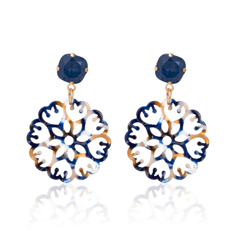 Blue Acrylic Laser Cut Round Wholesale Earrings