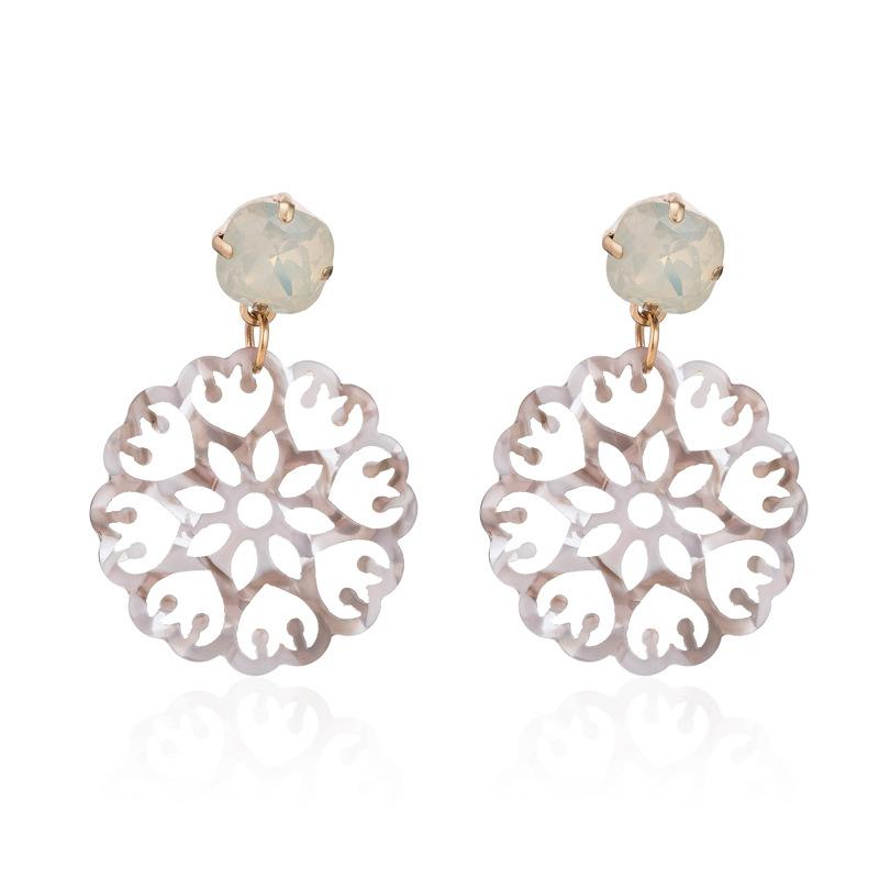 Grey Acrylic Laser Cut Round Wholesale Earrings