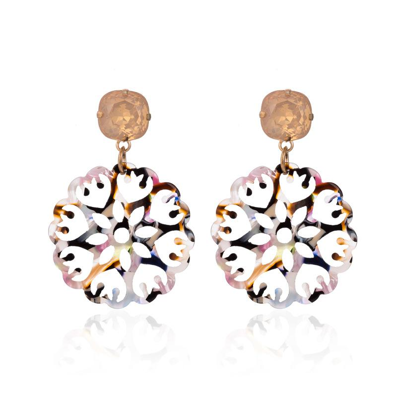 Pink/Black Acrylic Laser Cut Round Wholesale Earrings