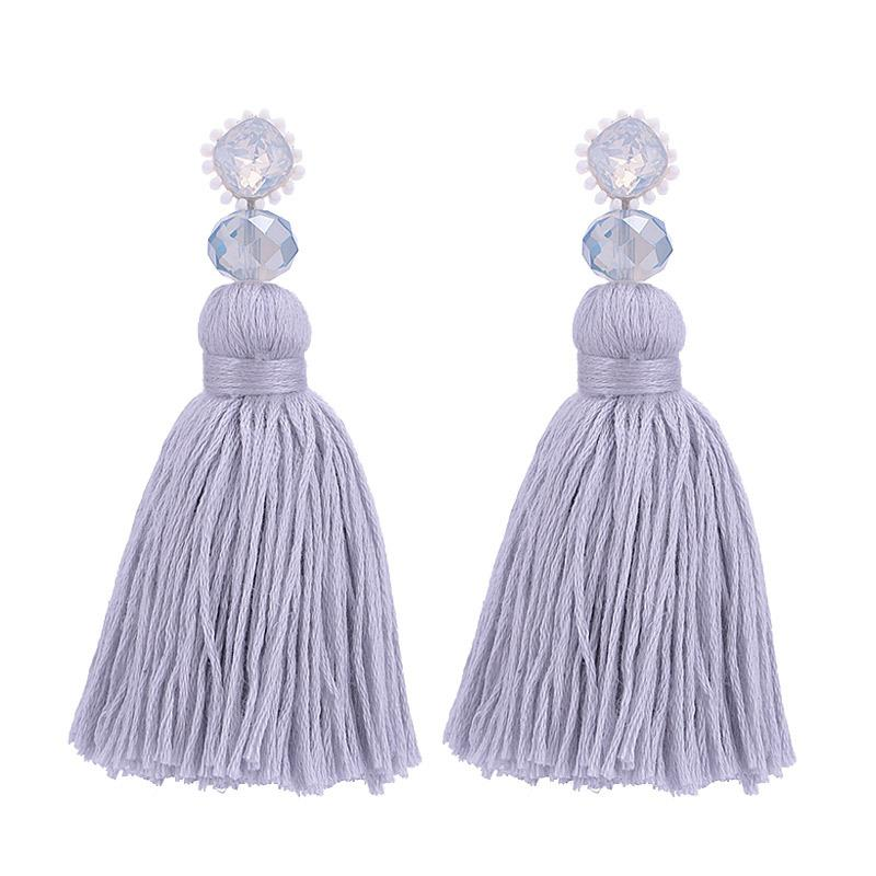 Grey Large Tassel Wholesale Earrings