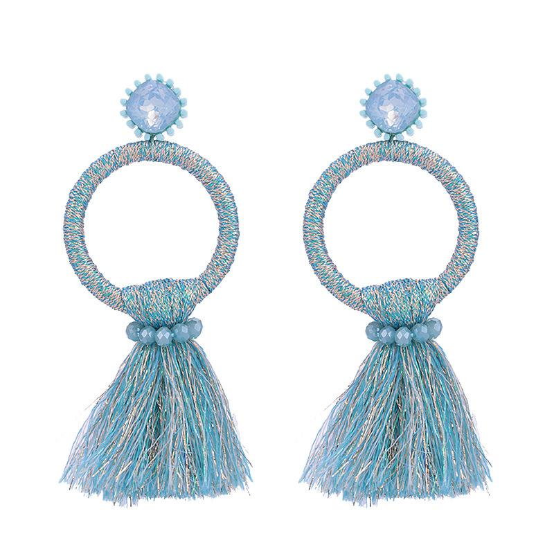 Blue Tassel Circle Wholesale Earrings