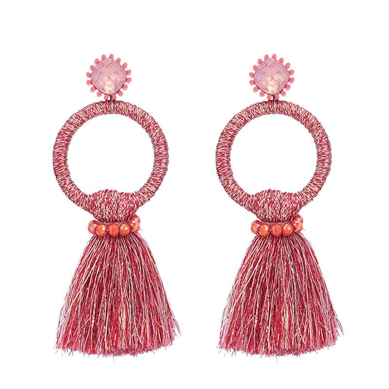 Red Tassel Circle Wholesale Earrings