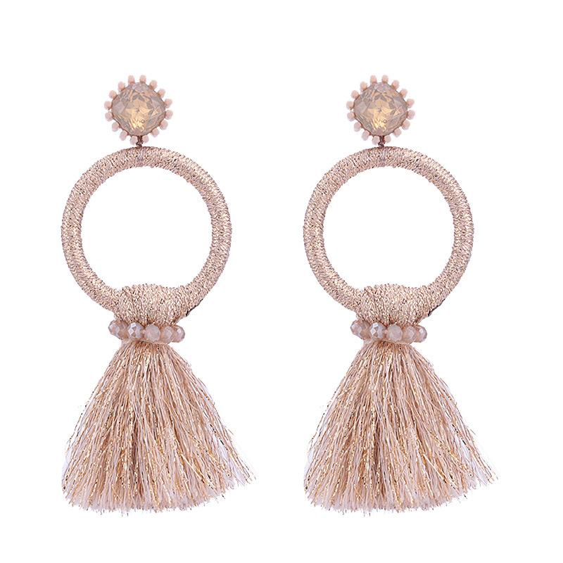 Pink Tassel Circle Wholesale Earrings