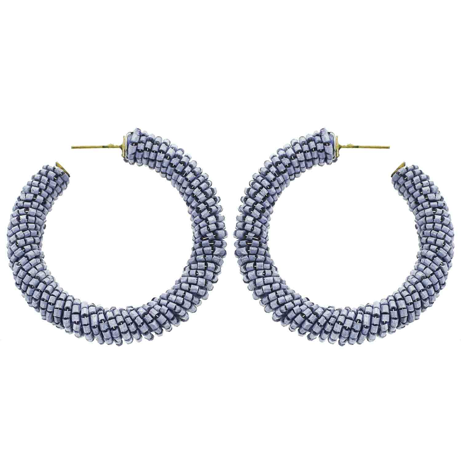 Lilac Beaded Hoop Wholesale Earrings