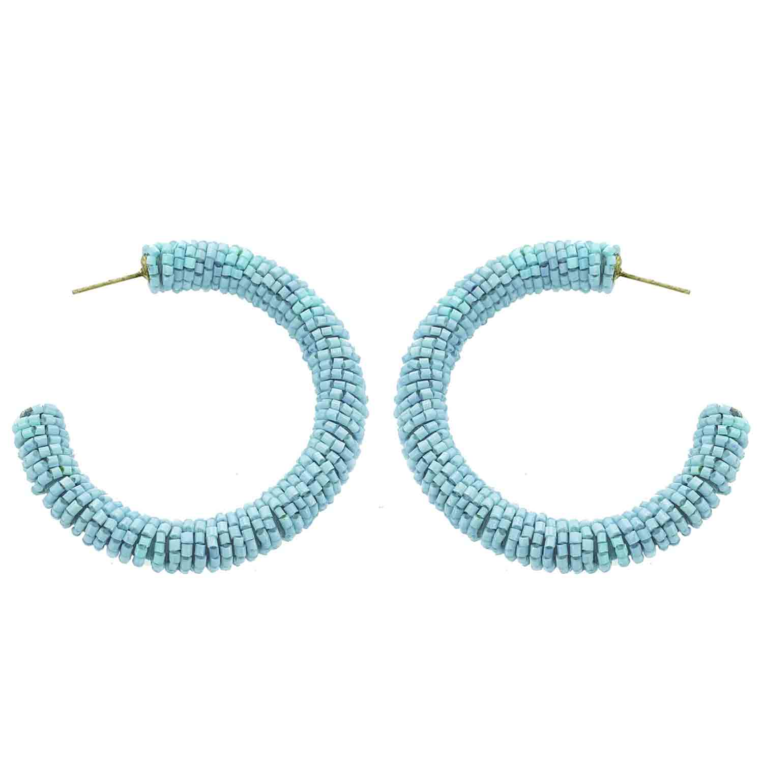 Turquoise Beaded Hoop Wholesale Earrings