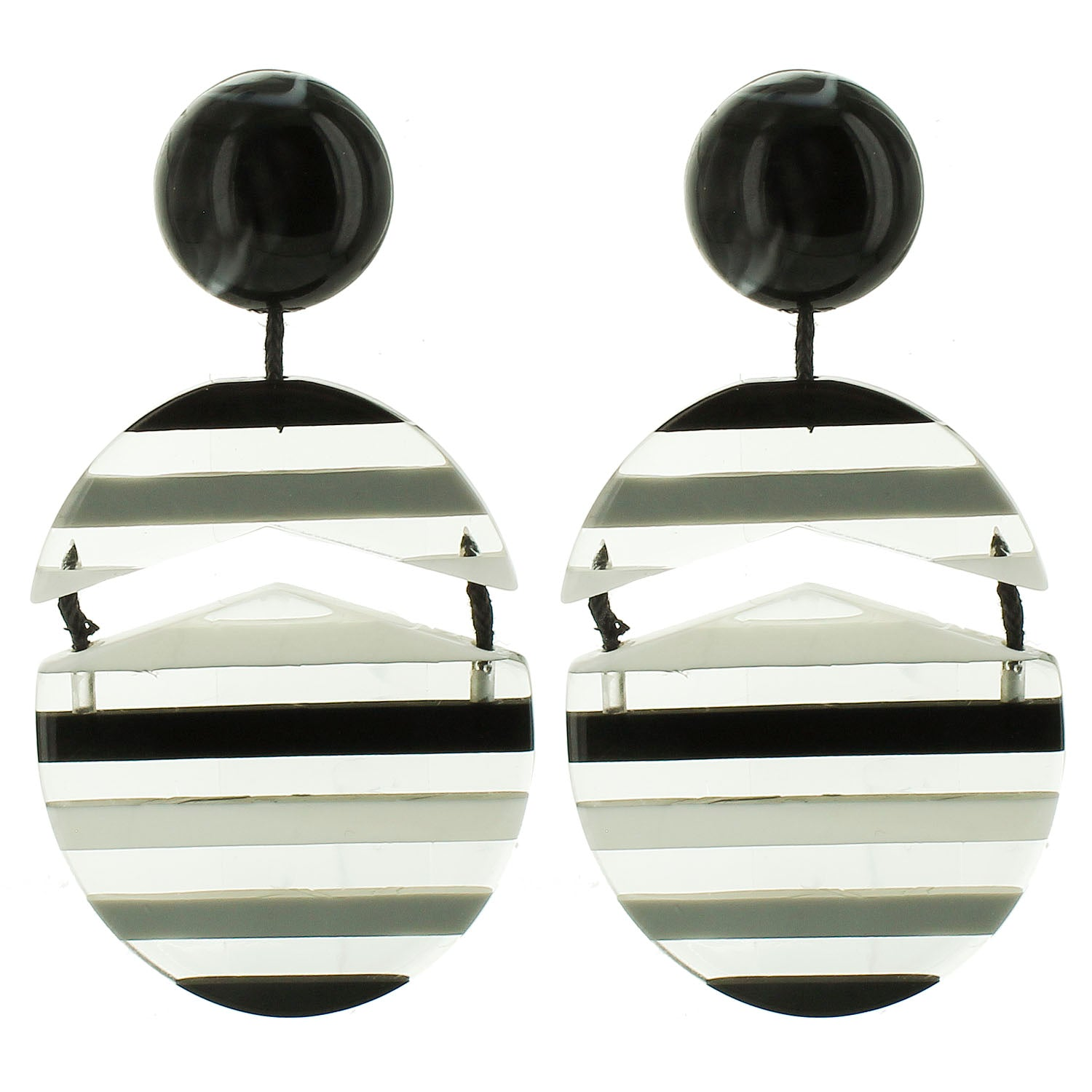 Black and White Multicolored Striped Drop Acrylic Wholesale Earrings