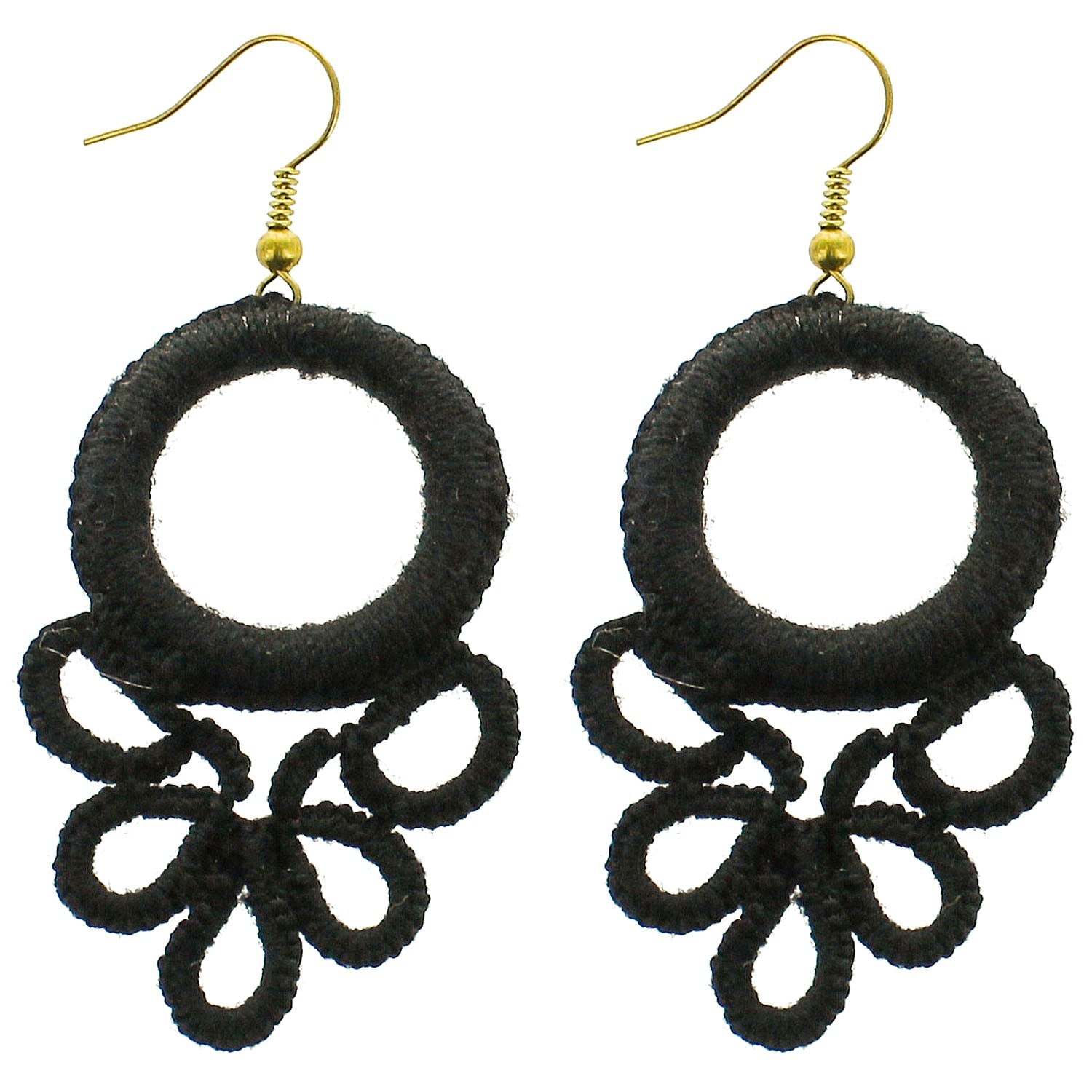 Black Circle Wrapped Wholesale Earrings
