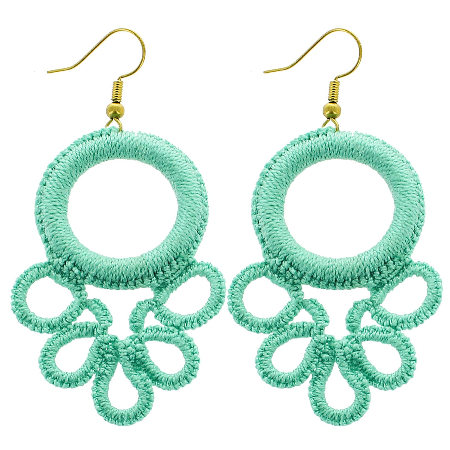 Mint Circle Wrapped Wholesale Earrings
