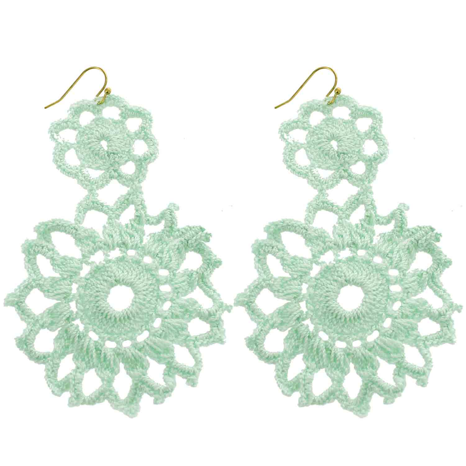Mint Hand Crochet Double Flower Wholesale Earrings