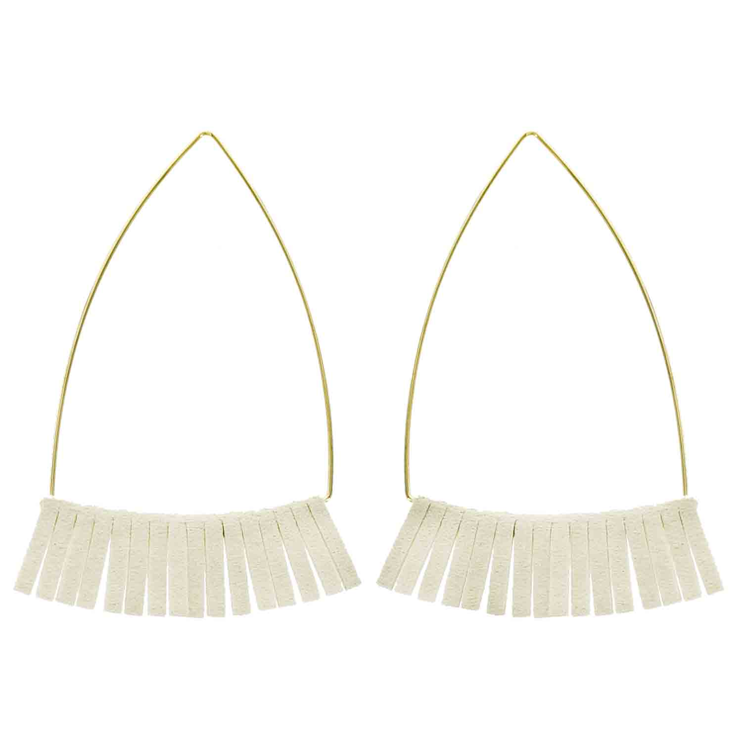Gold and Ivory Leather Triangle Wholesale Earrings