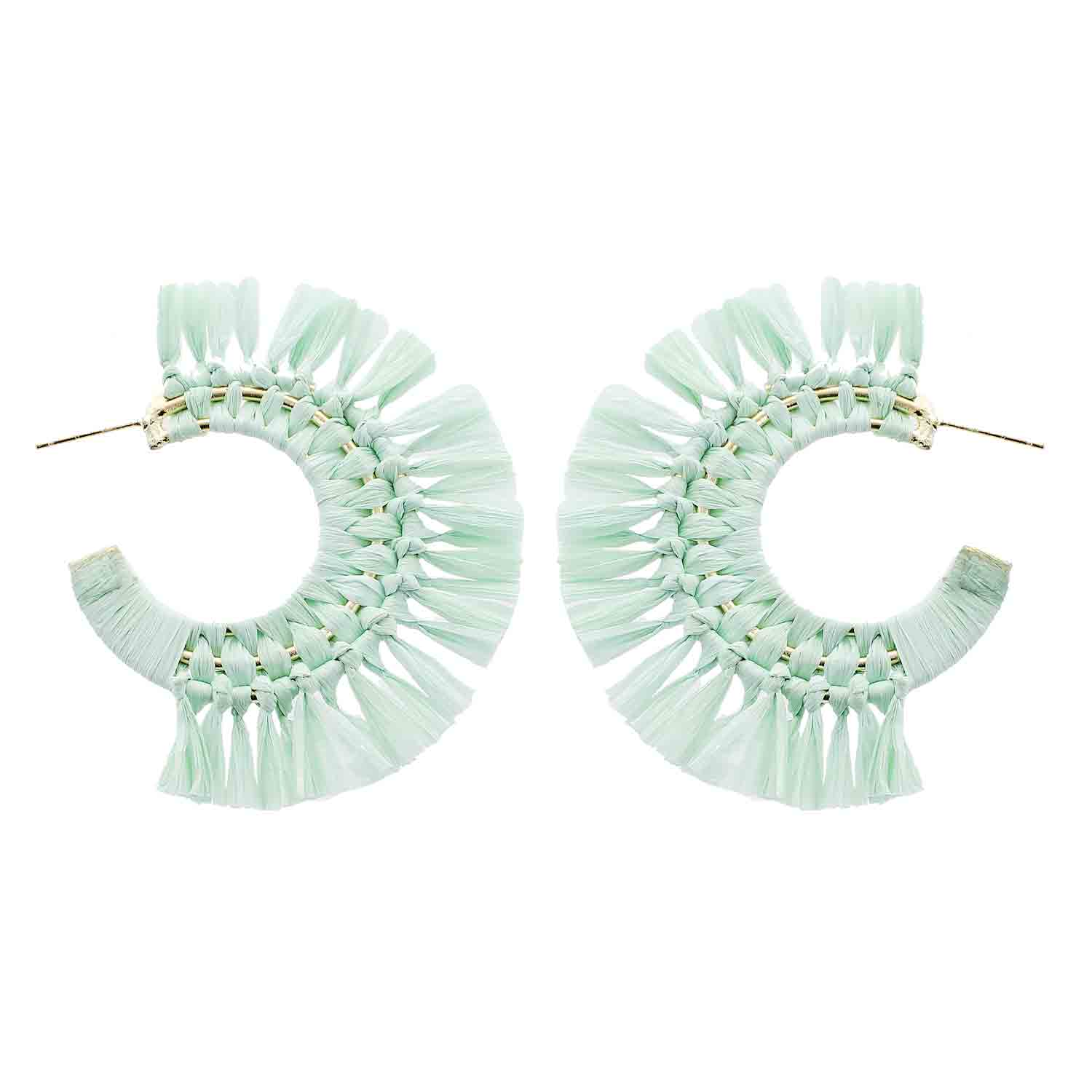 Mint Green Raffia Hoop Wholesale Earrings