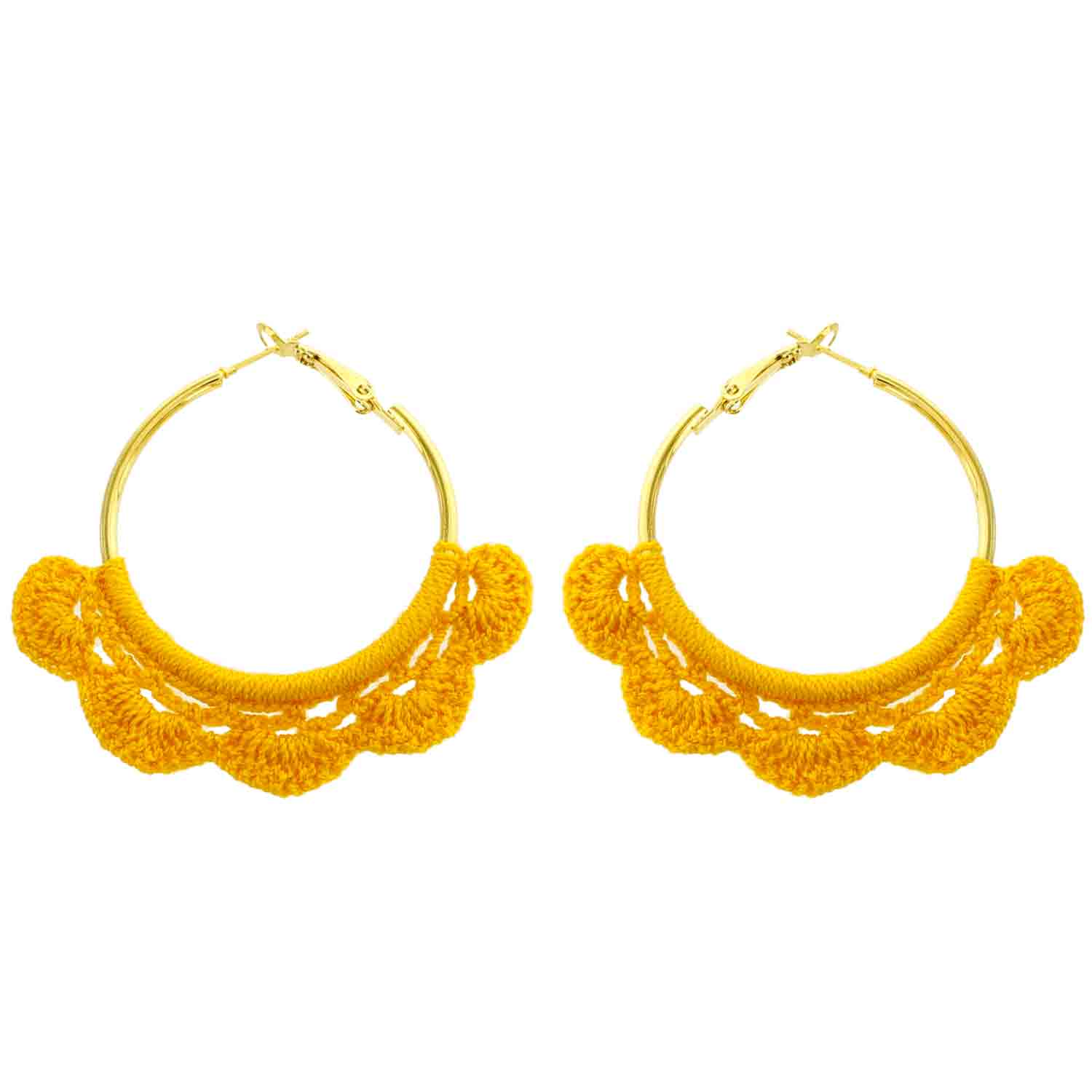 Mustard Crochet Hoop Wholesale Earrings