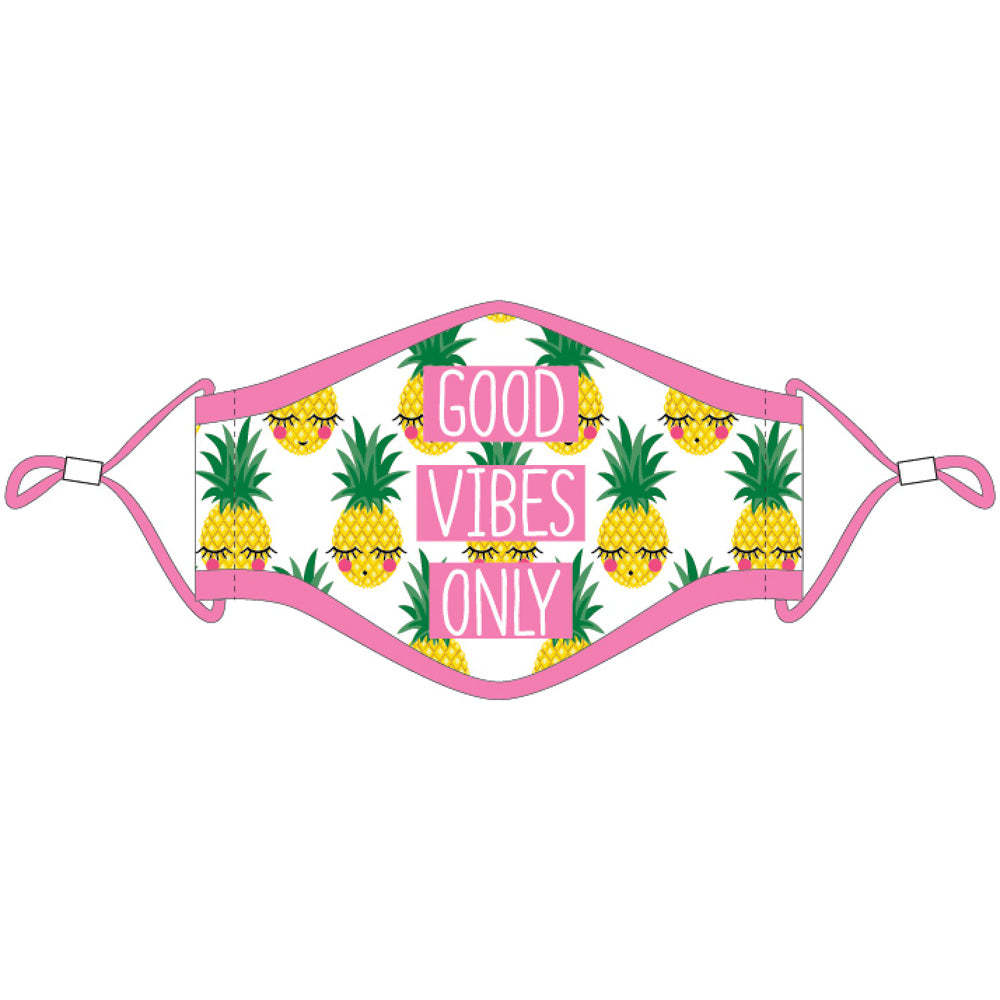 Good Vibes Only Pineapple Wholesale Face Masks w/ Lanyard