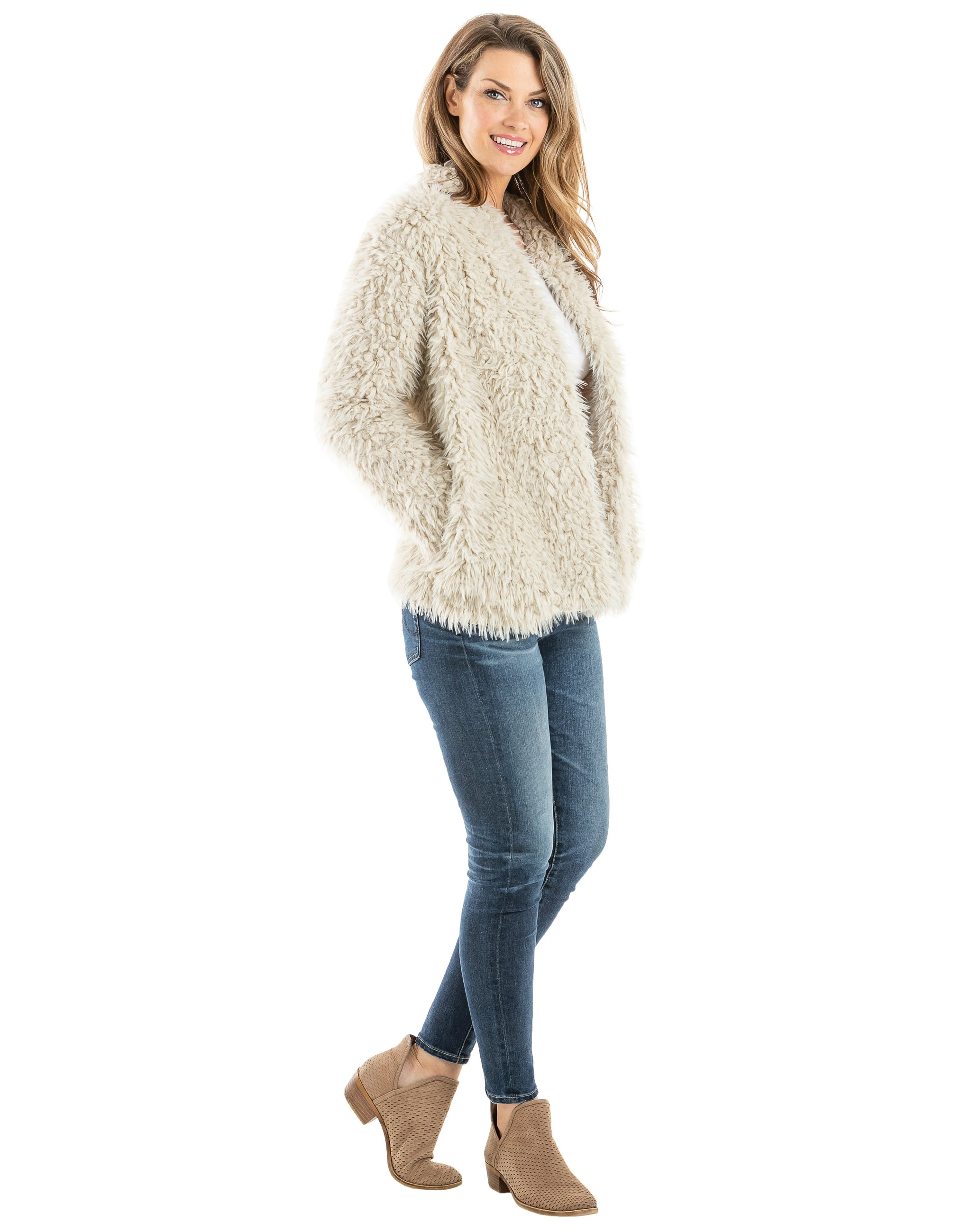 Solid Faux Fur Wholesale Lion Jackets for Women (4 colors)