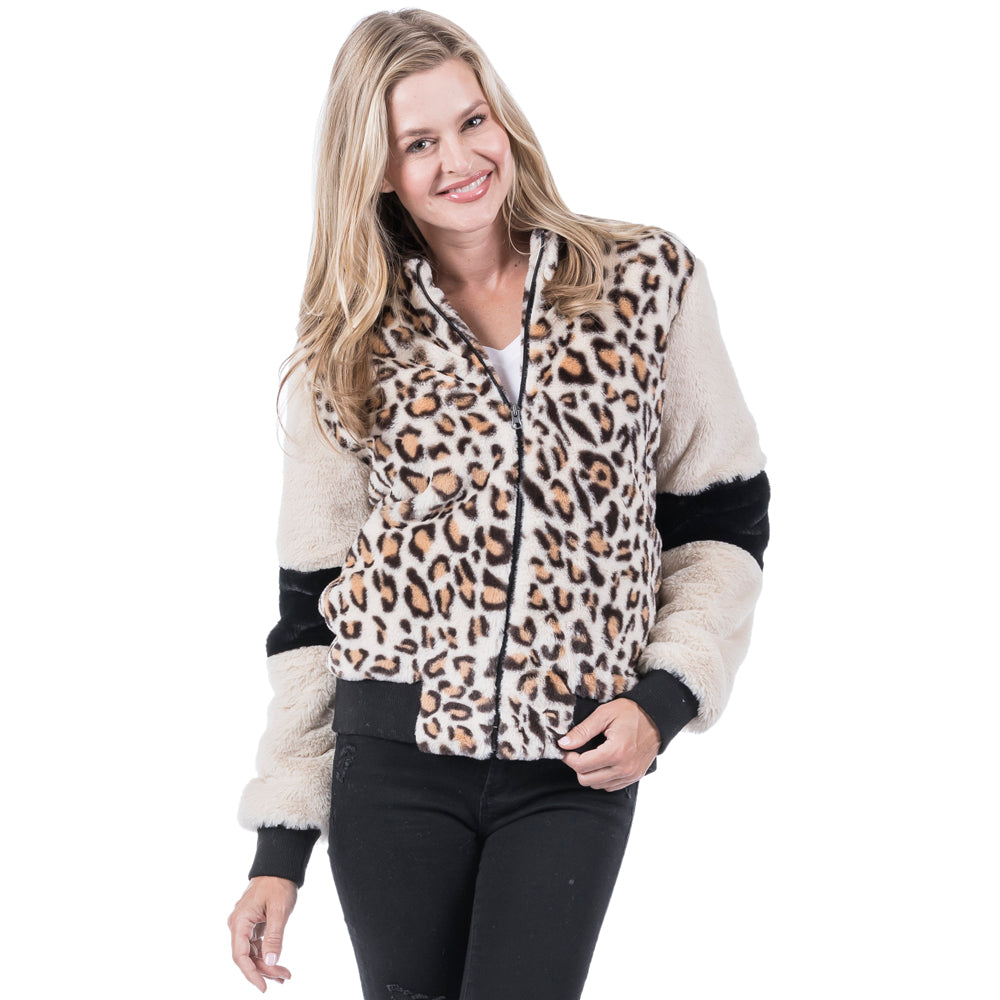 Katydid Wholesale Combo Fur Leopard Jacket