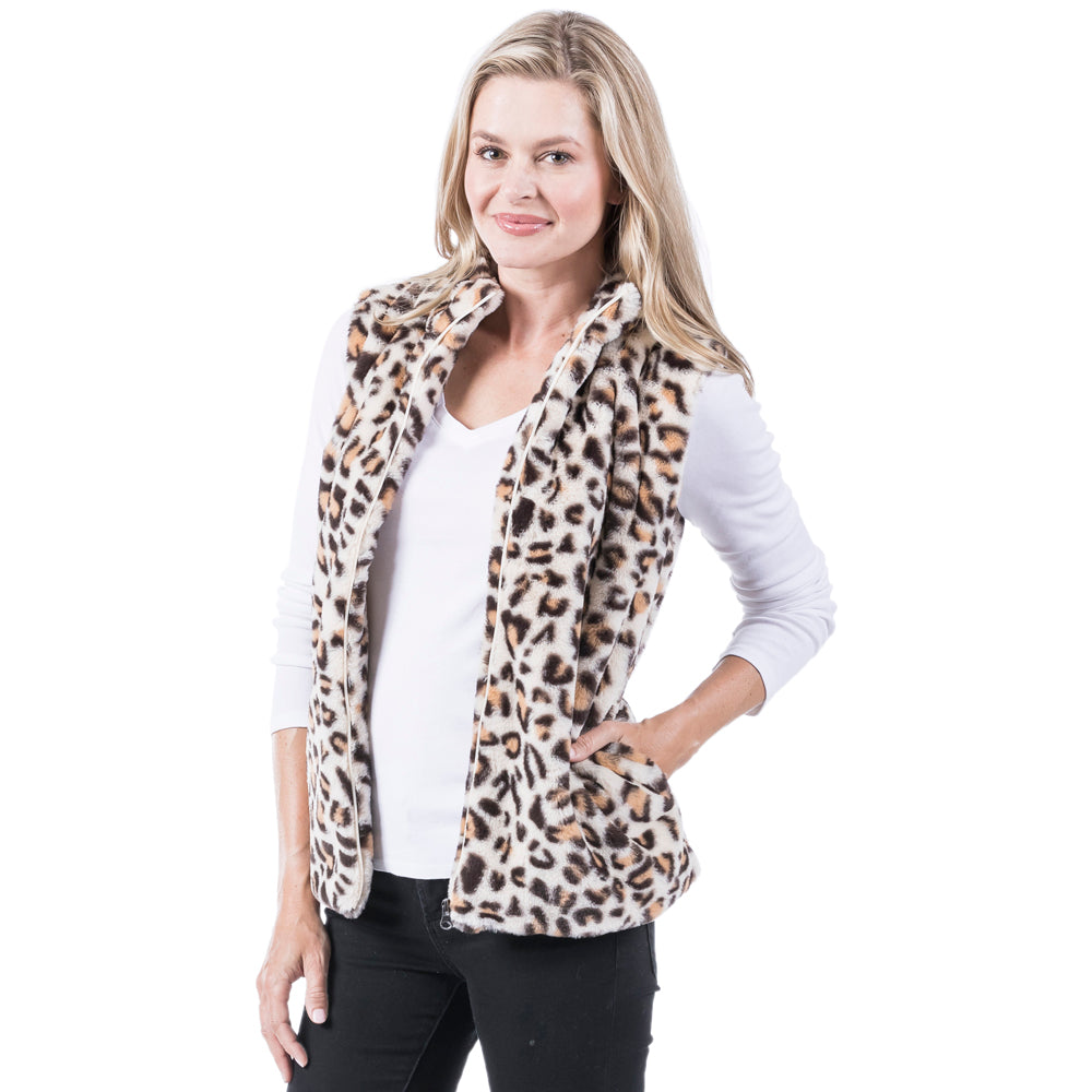 Fur Leopard Wholesale Vests
