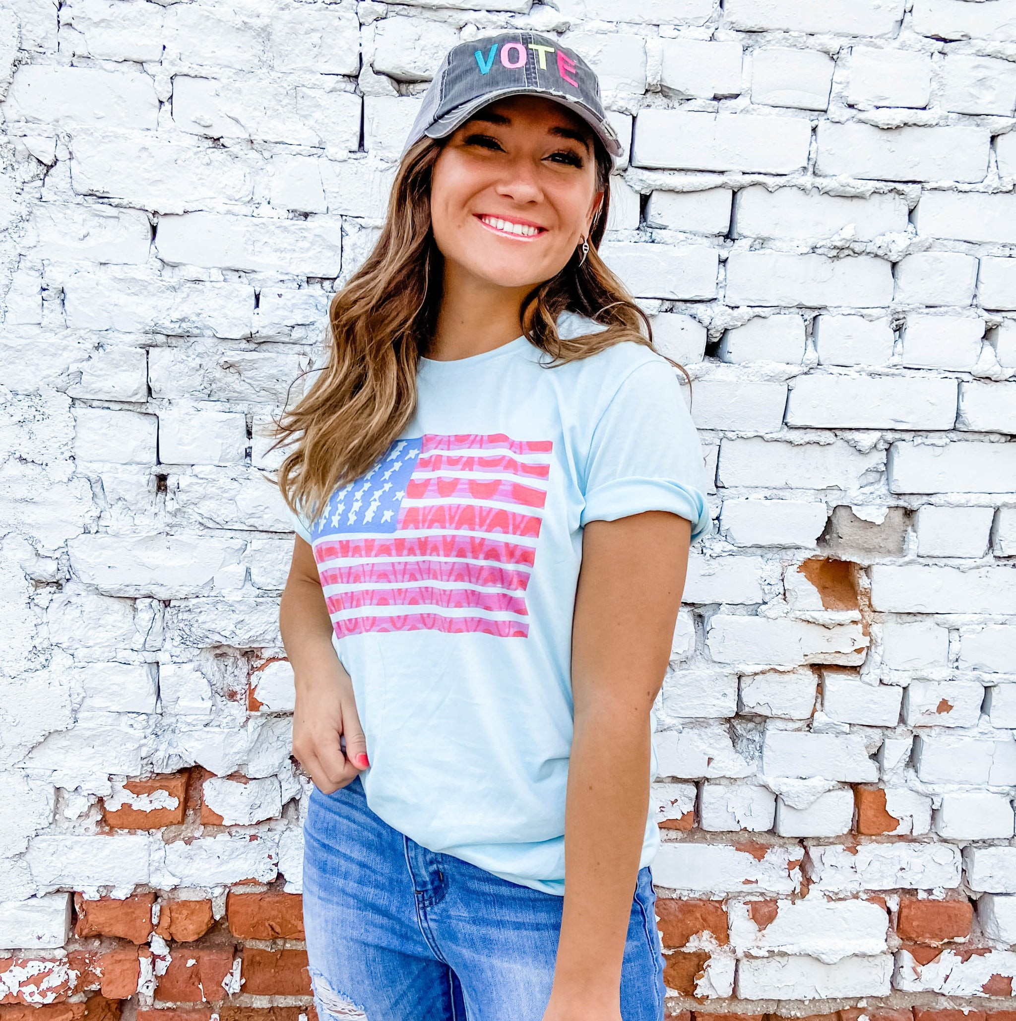 Katydid USA Flag Wholesale Women's T- Shirt