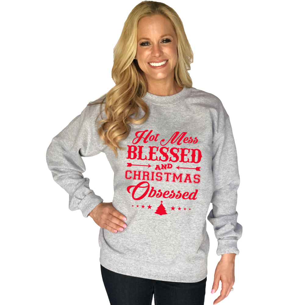 Katydid Hot Mess Blessed And Christmas Obsessed Wholesale Sweatshirt