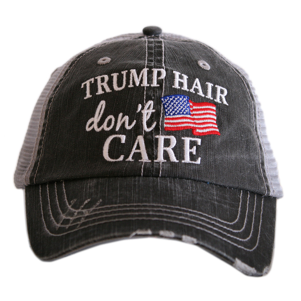 """Trump Hair Don't Care"" American Flag Wholesale Women's Trucker Hat"