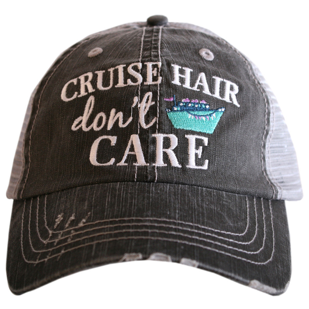 """Cruise Hair Don't Care"" Wholesale Trucker Hats in Grey and Mint"