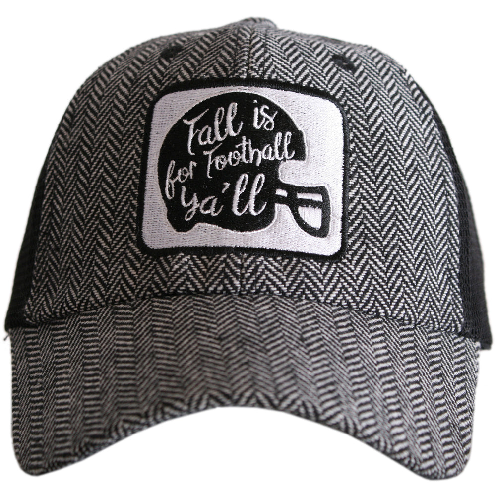 Katydid Fall is for Football Ya'll HERRINGBONE Trucker Hats