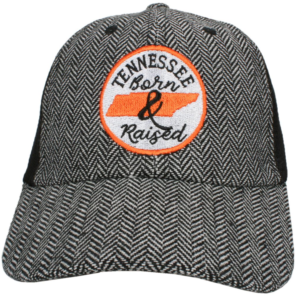 Katydid Tennessee Born and Raised (Circle Design) Herringbone Trucker Hat