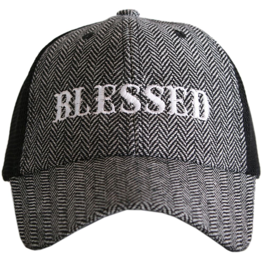 Katydid Blessed (New Font) HERRINGBONE Trucker Hats