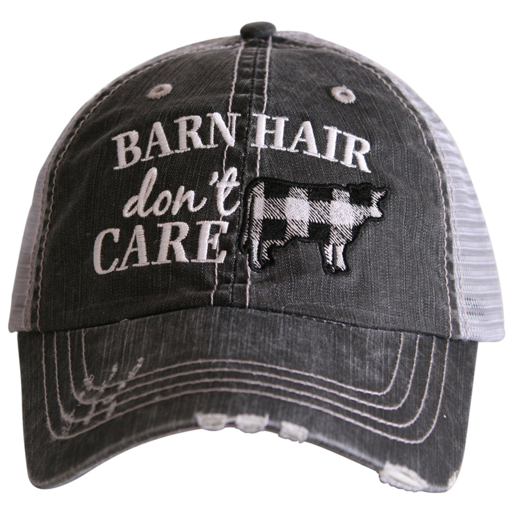 "Plaid Cow Wholesale Trucker Hats ""Barn Hair Don't Care"""
