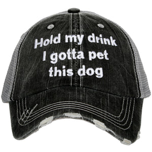 Hold My Drink I Gotta Pet This Dog Wholesale Trucker Hat